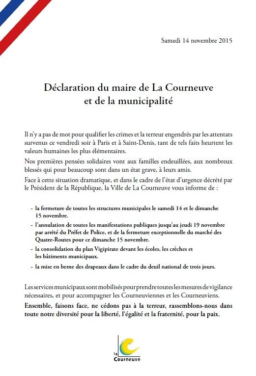 Déclaration de la Municipalité