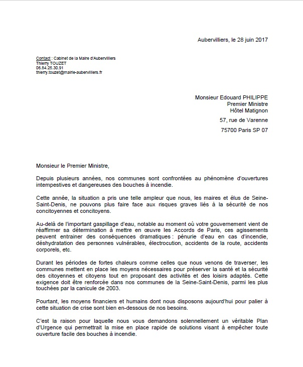Courrier PM bouches incendie