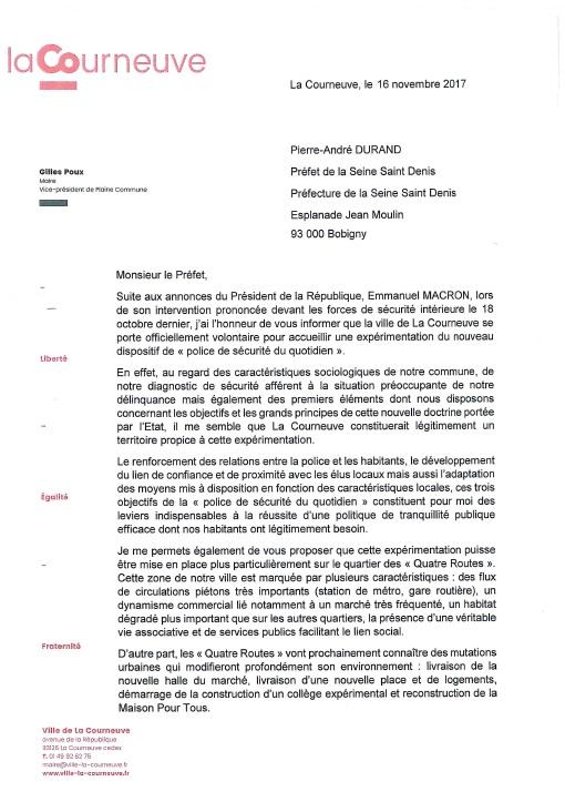 Courrier GP Préfet - police du quotidien
